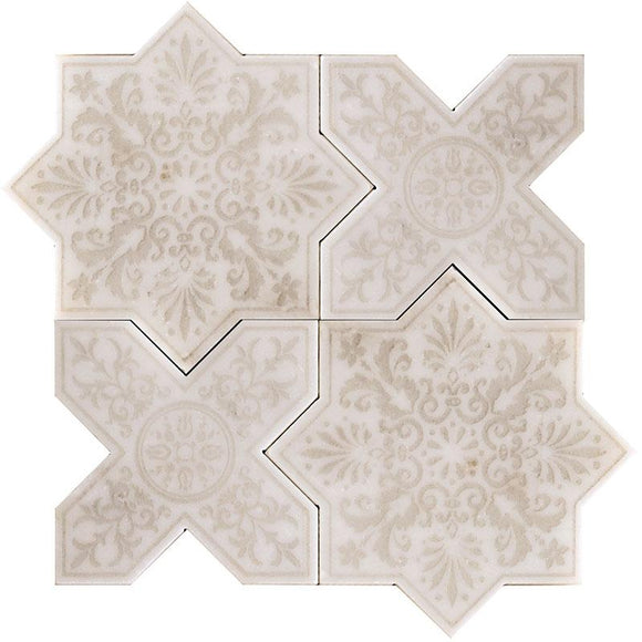 Moroccan Star & Cross Antique Etched Marble Mosaic Tile | Position1