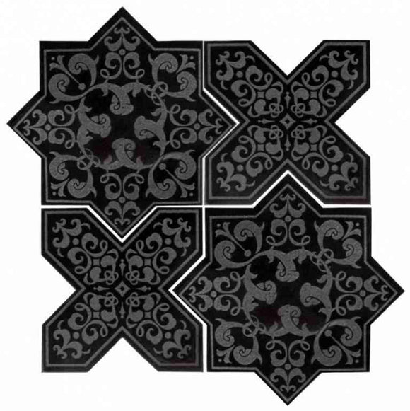 Moroccan Star & Cross Black Etched Marble Mosaic Tile | Position1