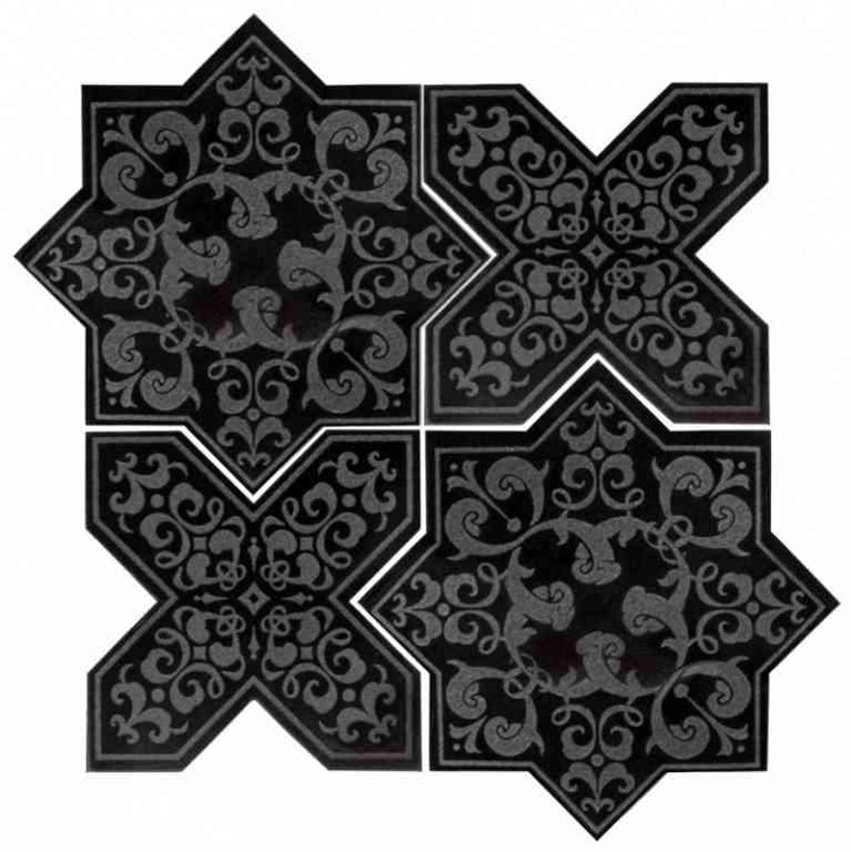 Moroccan Star & Cross Black Etched Marble Mosaic Tile | Tile Ideas for Floors and swimming pools