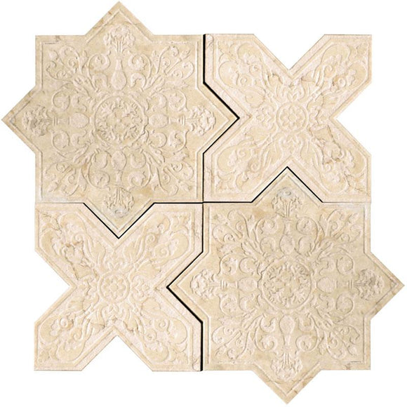 Moroccan Star & Cross Crema Etched Marble Mosaic Tile | Position1