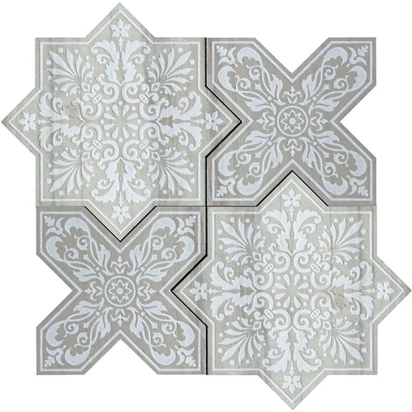 Moroccan Star & Cross Grey Etched Marble Mosaic Tile | Position1