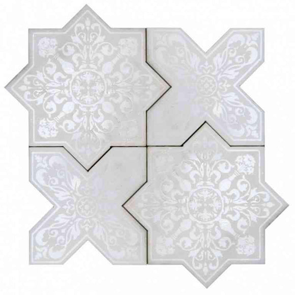 Moroccan Star & Cross White Etched Marble Mosaic Tile | Position1