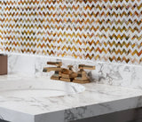 Mother Of Pearl Divine Herringbone Mosaic Tile Backsplash with a Marble Bathroom Countertop