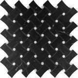 Nero Marquina Curved Basket Weave White Dots Marble Mosaic Tile position: 1