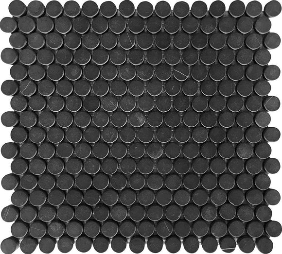 Nero Marquina Penny Tumbled Mosaic Tile | Tile Club | Position1