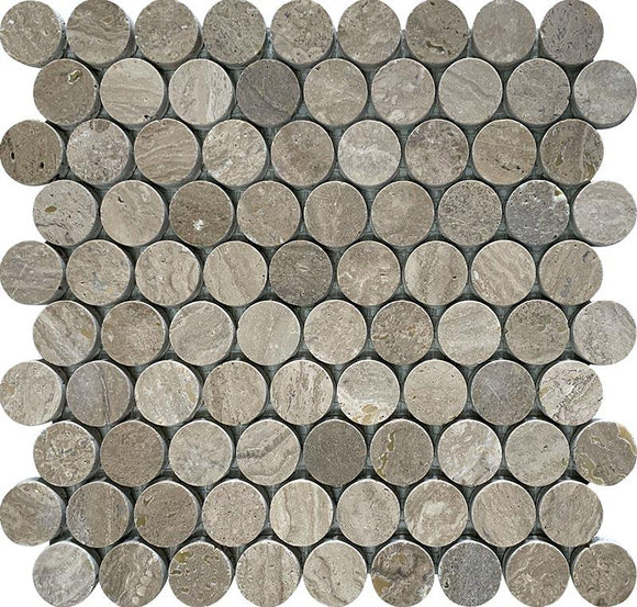 Noce Travertine Large Penny Round Tile
