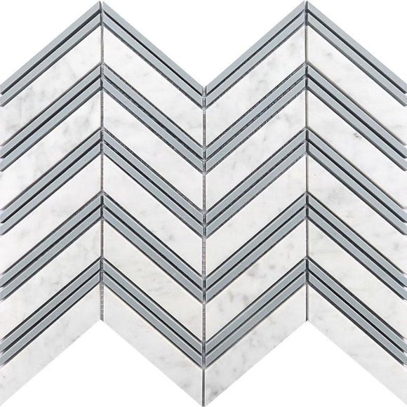 carrara marble chevron tile