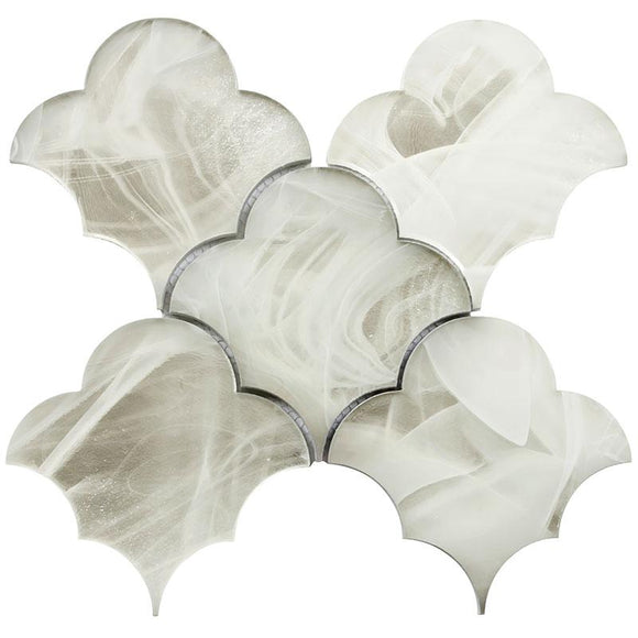 Ocean Glass Cloud Platinum White Mosaic Tile | Tile Club | Position1