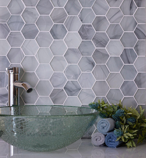 Ocean Glass Hexagon Grey Mosaic Tile Position: 1