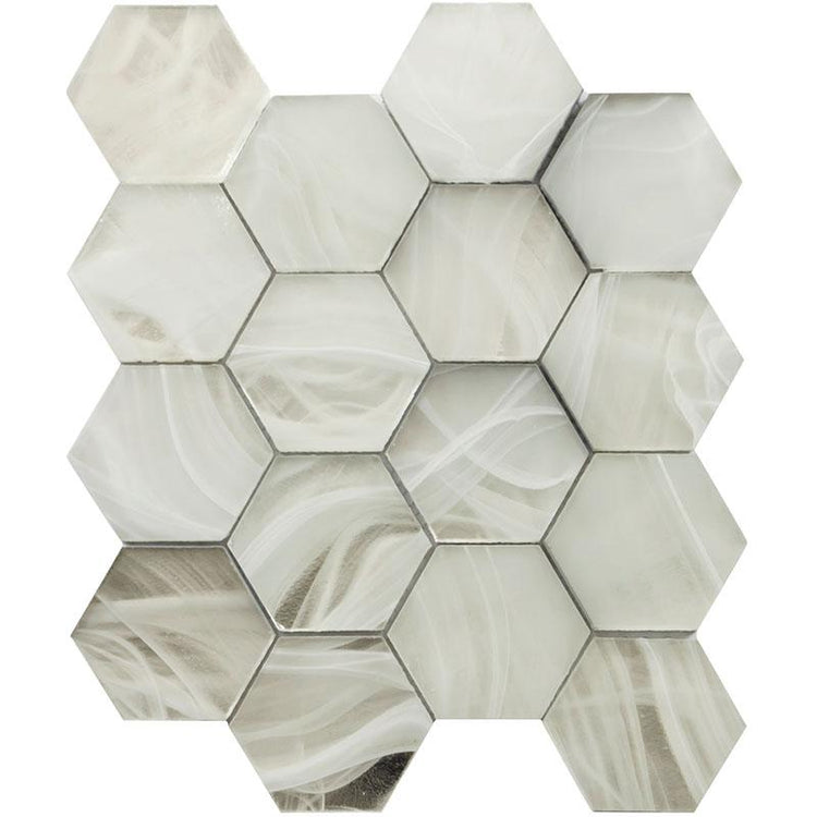 Ocean Glass Hexagon Platinum White Mosaic Tile | Tile Club | Position1