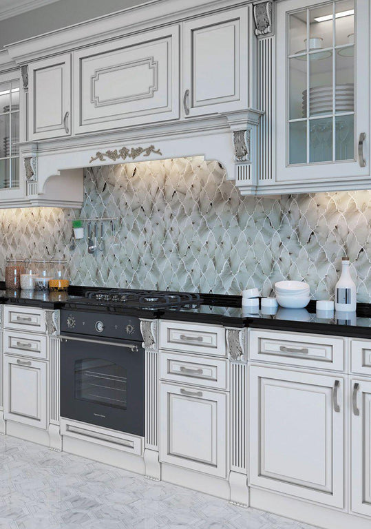 French Country Cottage Kitchen with Ocean Glass Louvre Grey Mosaic Tile