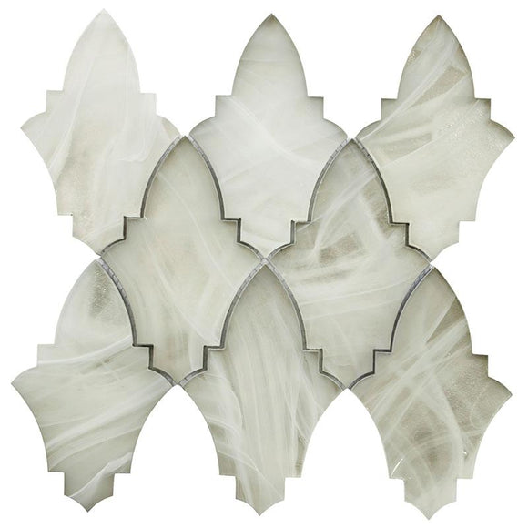 Ocean Glass Louvre Platinum White Mosaic Tile | Tile Club | Position1