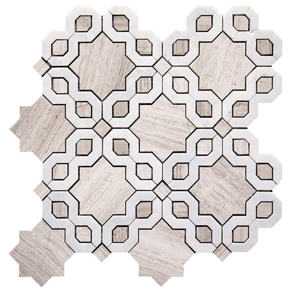 Oriental Flower Carrara & Wooden Beige Waterjet Mosaic Tile | Position1