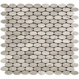 Tile Club | Oval Wooden Beige Marble Mosaic Tile position: 1
