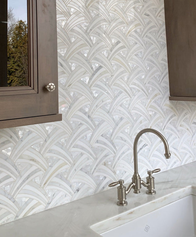 Pearl Sail Waterjet Mosaic Tile Backsplash