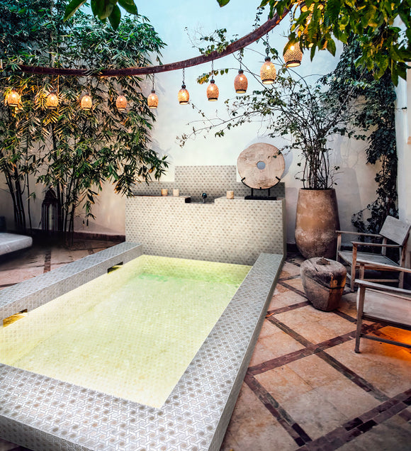 Pearl White Weaved Hexagon Glass Mosaic Tile | Tile Club | Position1