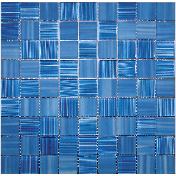 Pool Blue Glossy And Frosted Square Mosaic Tile | Tile Club | 11.3