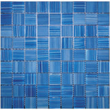 "Pool Blue Glossy And Frosted Square Mosaic Tile | Tile Club | 11.3"" x 11.3"""