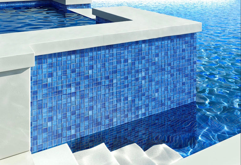 Blue square mosaic tiles for pool