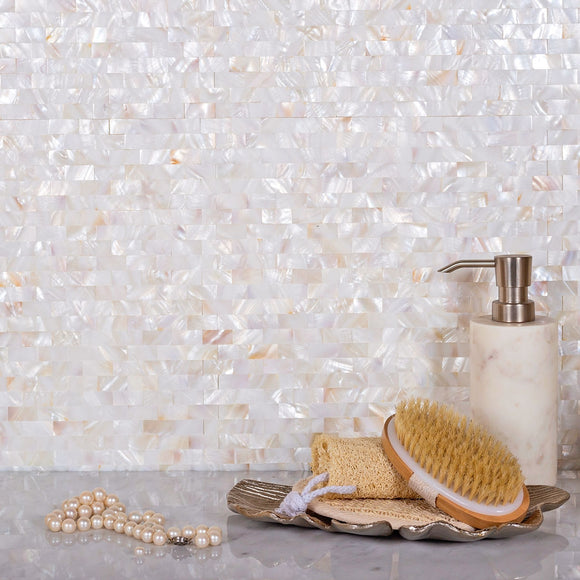 Pure White Mother Of Pearl Brick Mosaic Tile