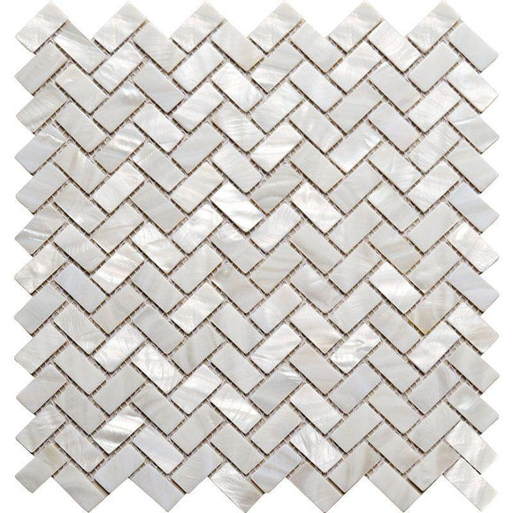 Pure White Mother Of Pearl Herringbone Mosaic Tile | Position1