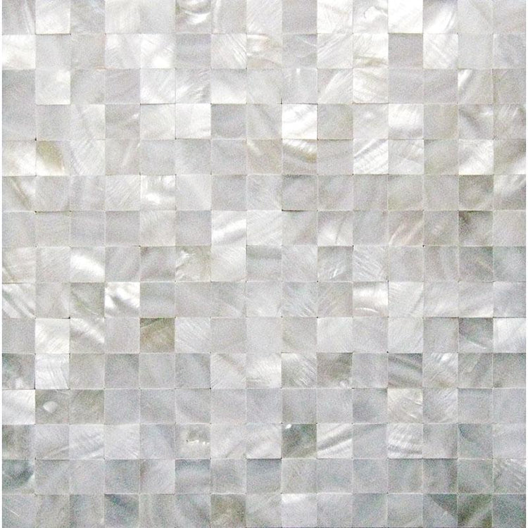 "Pure White Mother Of Pearl Tight Joints Square Mosaic | 11.8"" x 11.8"""