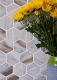 "Recycled Glass 2"" Hexagon Mosaic In Wood Color"