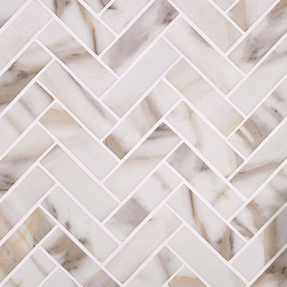 Recycled Glass Herringbone Mosaic In Calacatta Marble Color with Bright White Grout