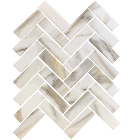 Recycled Glass Herringbone Mosaic In Calacatta Marble Color | Position1
