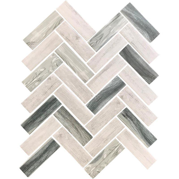Recycled Glass Herringbone Mosaic In Grey Wood Color | Position1