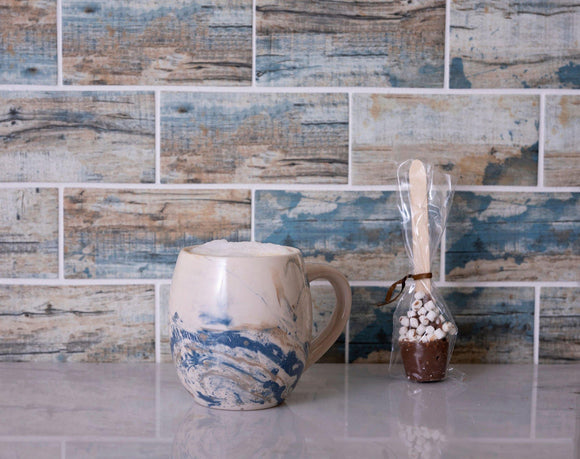Recycled Glass Subway Mosaic Tile In Blue Wood Color Position: 1