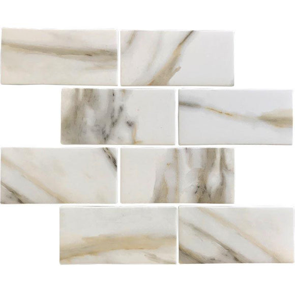 Recycled Glass Subway Mosaic Tile In Calacatta Marble Color | Position1