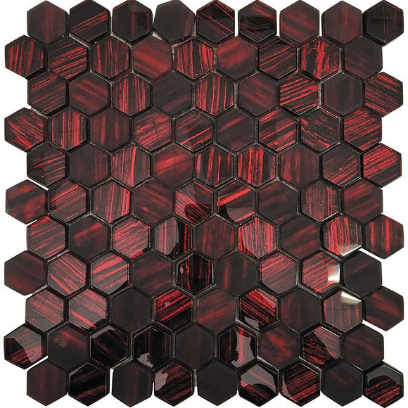 Red Foil Glossy And Frosted Hexagon Glass Mosaic Tile | Position1