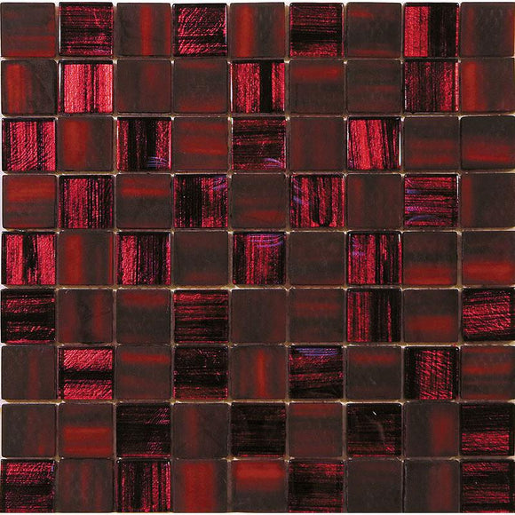 Red Foil Glossy And Frosted Square Mosaic Tile | Tile Club | Position1