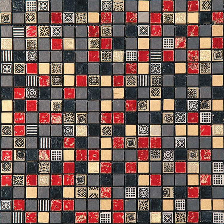 "12"" x 12"" Red Pharaoh Mosaic Tile 