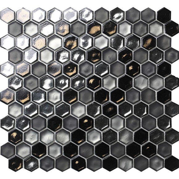 Saturn Grey Hexagon Glass Mosaic Tile | Tile Club | Position1