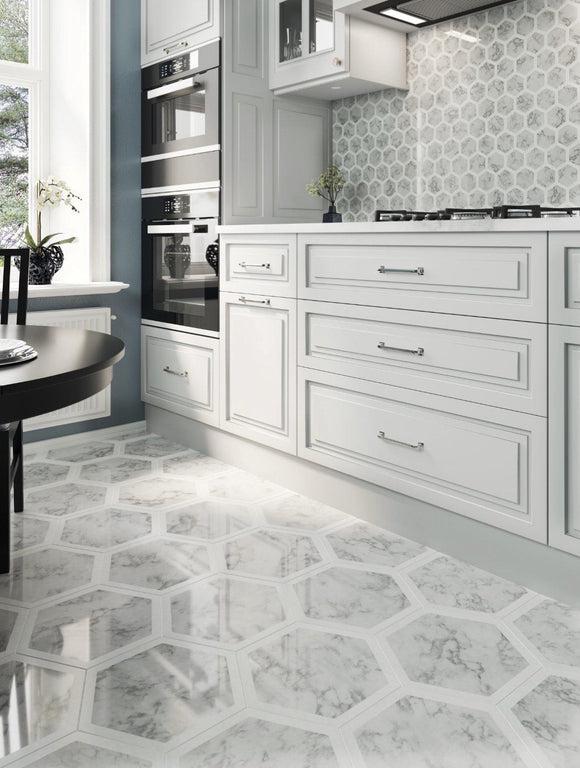 Selo Grand Hexagon Carrara And Thassos Marble Mosaic