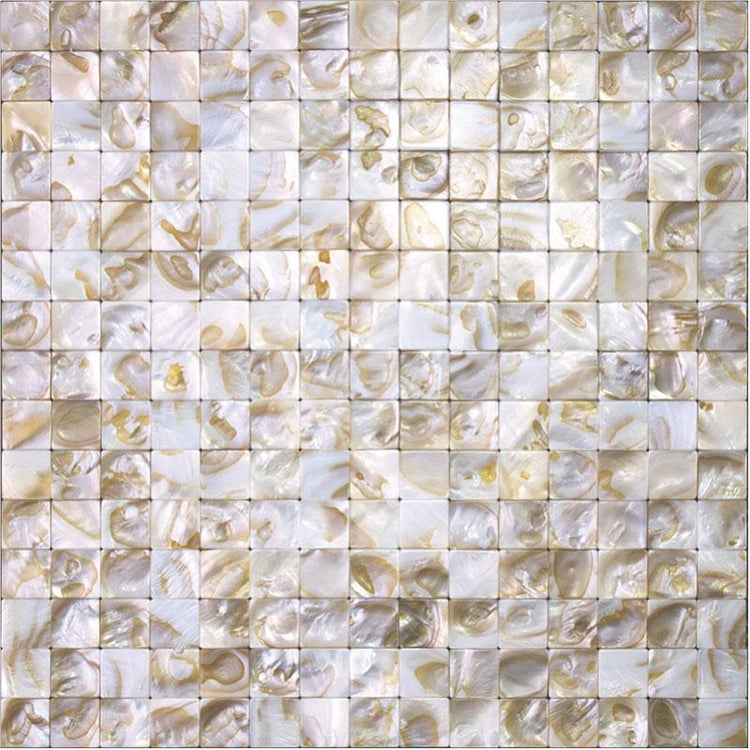 "Serene White Mother Of Pearl Tight Joints Square Mosaic | 11.8"" x 11.8"""