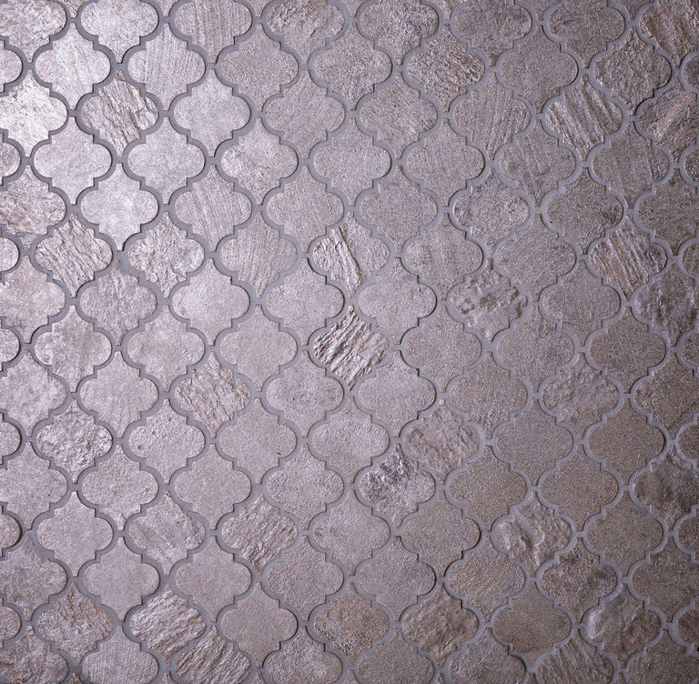 "12"" x 12"" Silver Arabesque Mosaic Tile 