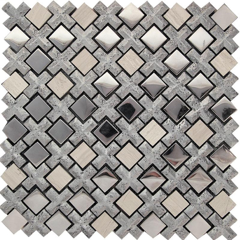 "Silver Cross And Mirror Squares Mosaic Tile | Tile Club | 11"" x 11"" silver mosaic tile mirror"