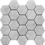 Silver Etched White Hexagon Marble Mosaic Tile | Tile Club | Hexagon honeycomb tile