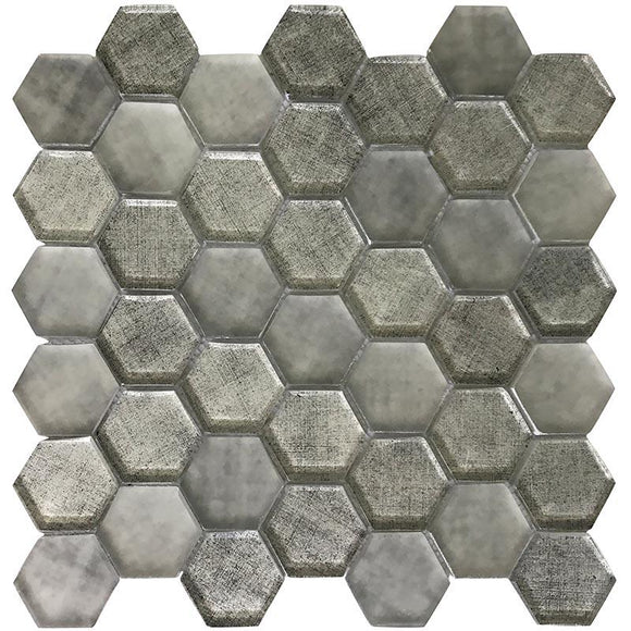 Silver Fabric Glass Hexagon Mosaic Tile | Tile Club | 11.8