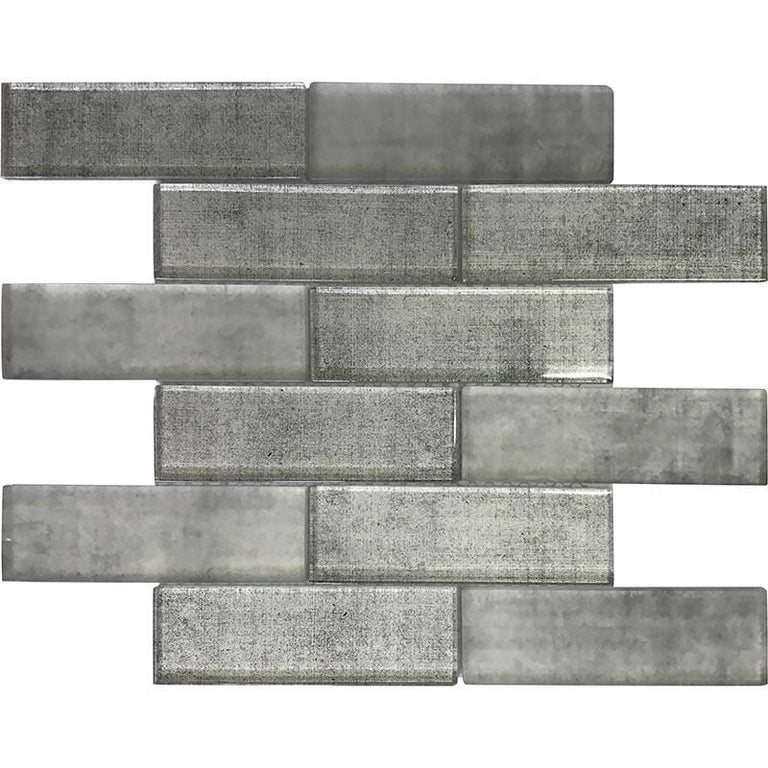 Silver Fabric Glass Subway Mosaic Tile | Tile Club | Position1