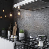 Modern Kitchen with Silver Glass Penny Round Mosaic Tile and Brushed Metal Appliances