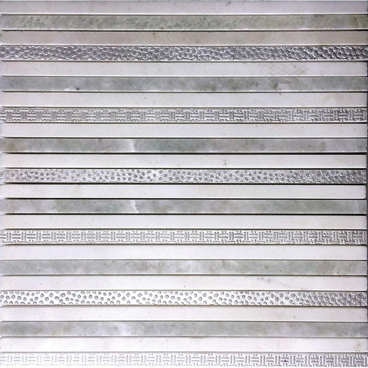 "11.8"" x 11.8"" Silver White Lines Marble Mosaic Tile 