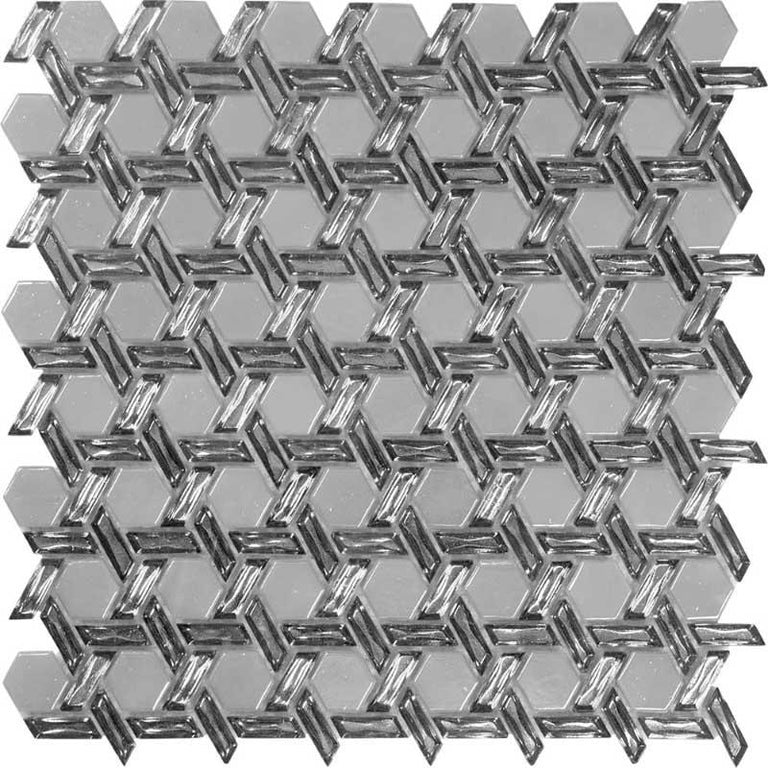 silver white hexagon glass tile