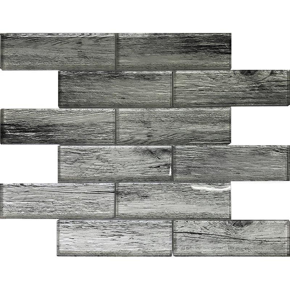 Silver Wooden Glass Subway Mosaic Tile | Tile Club | Position1