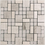 Square And Dot Wooden Beige & Glass Mosaic Tile | Tile Club | Position1
