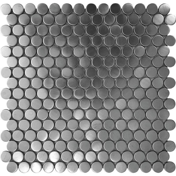 Tile Club | Stainless Penny Metal Mosaic Wall & Floor Tile position: 1