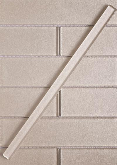 Stardust Sand Pencil Glass Molding with Matching Subway Tiles